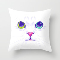 White cute cat Throw Pillow by Oh wow! | Society6