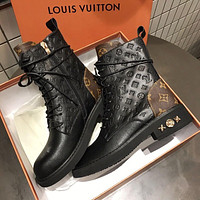 LV Louis Vuitton New autumn and winter plus cashmere Martin boots print all-match boots Martin boots Shoes