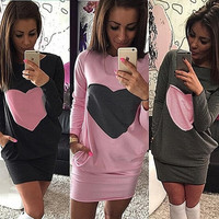 Fall and Winter Women Bodycon Dress Sexy Package Hip Dress Lady O-neck Pockets Heart-shaped Spliced Dress Sweater dresses [4905490116]