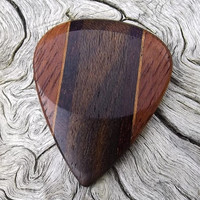 Handmade Premium Multi-Wood Guitar Pick - Actual Pick Shown - No Stock Photos - Thumb Groove One Side