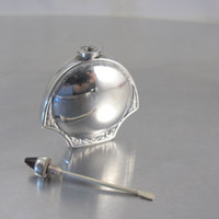 ORMEX Sterling Perfume Snuff Bottle, Mexico Sterling Silver Bottle Garnet Accent, Vintage Ormex Signed Mexico Perfume Bottle Collectible