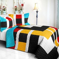 [Designer - 1] Brand New Vermicelli-Quilted Patchwork Quilt Set Full/Queen