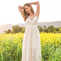 Julianna Cream Lace Tie Back Maxi Dress