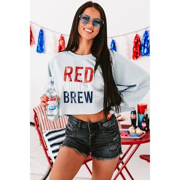 """""""Red, White, & Brew"""" Long Sleeve Graphic Crop Top (Smoke Blue) - Print On Demand"""