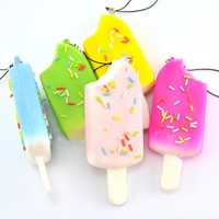 1P Squishy Bread Chocolate Sprinkles Popsicle Phone Straps Soft Scented Charms SM6