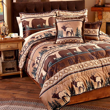 Lodge Cabin Themed Bedding Set Comforter Shams Pillows Twin or King