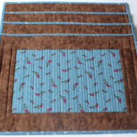 Quilted Placemats - Country blue and brown placemats - Set of 4