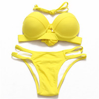 Sexy Bandeau Push Up Bikini Bathing Suit For Women Halter Strappy Swimsuit Hollow Out