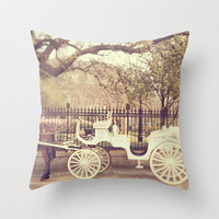 New Orleans Carriage Ride Throw Pillow by Heather Green