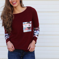 Sequin Glam Knit {Maroon}
