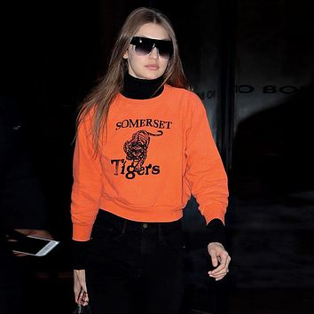 Fashion Tiger Letter Print Long Sleeve Loose Sweater Women Casual Tops