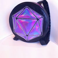 EL Wire Odesza Round Light Up Backpack for Raves Festivals Music Events . Holographic Logo Custom Bag . EDC costume.