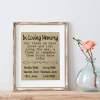 This Candle Burns in Memory Personalized Signs | Wedding Remembrance | Wedding Ceremony Sign | 8.5x11 Burlap Print | Wedding Sign