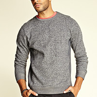 Heathered Fleece Contrast Sweatshirt Heather Grey
