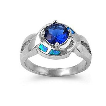 Sapphire Blue Stone in a Stylish Criss Cross Sterling Silver Band with Blue Lab Opal Set in Band