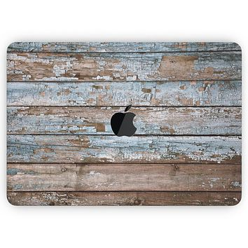 """Wood Planks with Peeled Blue Paint - Skin Decal Wrap Kit Compatible with the Apple MacBook Pro, Pro with Touch Bar or Air (11"""", 12"""", 13"""", 15"""" & 16"""" - All Versions Available)"""