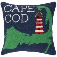 Cape Cod 18x18 Wool Pillow, Navy, Decorative Pillows