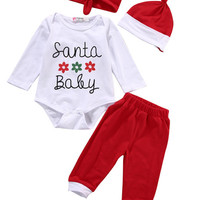 4PCS Newborn Baby Boy Girls Santa Baby Christmas Clothes Romper Pants Hat Outfit Baby Xmas Clothing