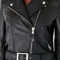 Silence + Noise Its Real Leather Moto Jacket - Urban Outfitters