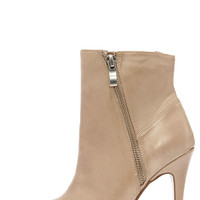 Chinese Laundry Caylin Taupe Leather High Heel Booties