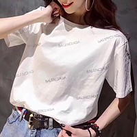 """""""Balenciaga""""Hot Water Drill Letters T-Shirt Top(3-Color) White I12385-1"""
