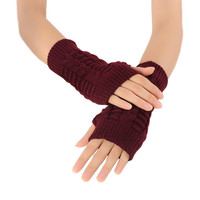Mileegirl Women Winter Fingerless Gloves,Unisex Hand Arm Warmer Knitted Mitts Long Female Gloves Mittens