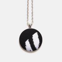 Modern Zebra Print Necklace, Color Block Black and White, Asymmetrical Necklace, Fabric Button Pendant, Layered Fabric