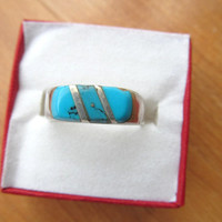 Taxco Mexico Faux Blue Turquoise Sterling Ring Vintage