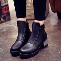 Ankle Boots For  Warm British  Platform Motorcycle Ankle Martin Boots Shoes Woman Size 35-39