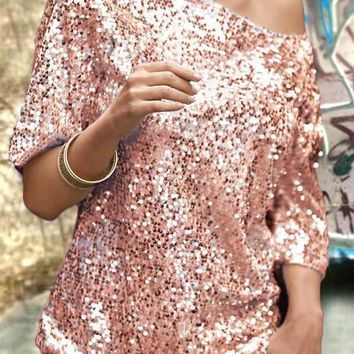 Rose Gold One-shoulder Sequin Round Neck Elbow Sleeve Clubwear NYE Party Top T-Shirt