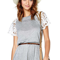 Grey Lace Sleeve Romper