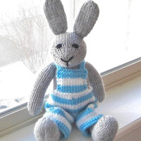 """Hand Knit Bunny Rabbit - Baby Easter Toy Stuffed Toy Rabbit Doll - Knit Animal Easter Bunny Nursery - Stuffed Animal Bunny Doll 15"""" Tall"""