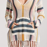 Striped Cover-Up Hoodie