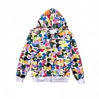 Bape Spring And Autumn New Mens And Womens Casual Zipper Plus Velvet Hooded Sweater Jacket Ape Trend Couple Wear