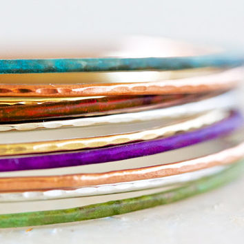 Bangle Bracelets Stacking Moroccan Glow Bangles - Purple, Blue, Red, Green - Winter Fashion Fresh Hand Hammered Cute Unique 7 Patina Bangles