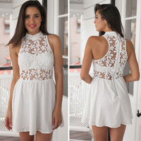 Sheer White Lace Skater Dress