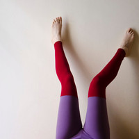 Colorblock Leggings Violet and Burgundy Red, Color block fashion, Footless tights, Plus Size Available Womens Leggings