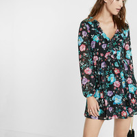 Plunging V-Neck Floral Ruffle Dress
