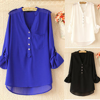 Solid Color Button Long Sleeve Chiffon