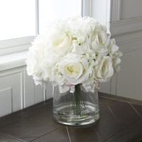 Pure Garden Hydrangea and Rose Floral Arrangement with Vase - Cream   Overstock.com Shopping - The Best Deals on Silk Plants