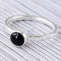 Black onyx stacking ring, sterling silver, stackable ring, Size 7, handmade, thin ring, hammered ring, 6 mm cabochon, black ring, bezel set