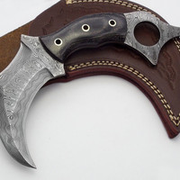 Custom Made Beautiful Damascus Double Edge Full Tang Karambit Knife (AA-0251-2)