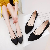 New Women Solid Color Suede Flats Heel Pearl Fashion High Quality Basic Pointed Toe Ballerina Ballet Flat Slip On Shoes
