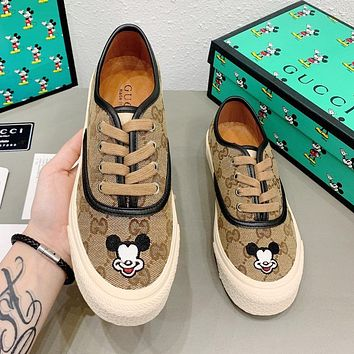 GUCCI x Mickey Series Fashionable Women Casual Embroidery Sport Shoes Sneakers