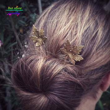 Vintage Fashion Hair Jewelry Gold Maple Leaf Bobby Pin Woodland Hair Accessory Maple Leaf Bobby Pin Wedding Hair Accessories