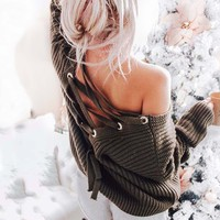 Cooper Lace-Back Sweater