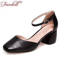 FACNDINLL 2018 new spring summer fashion women pumps shoes genuine leather med heels black red dress party casual shoes pumps
