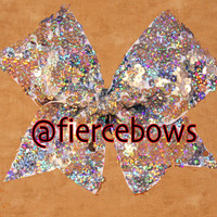 5mm Silver Holographic Sequin Cheer Bow
