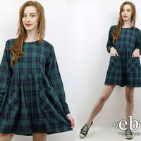Vintage 90s Longsleeve Green Plaid Babydoll Dress S M L 90s Grunge Dress 90s Plaid Dress Soft Grunge Dress Green Plaid Dress 90s Dress