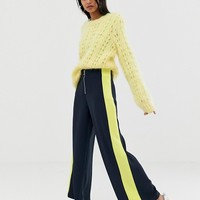 Weekday zip front panel stripe wide leg pants in navy at asos.com